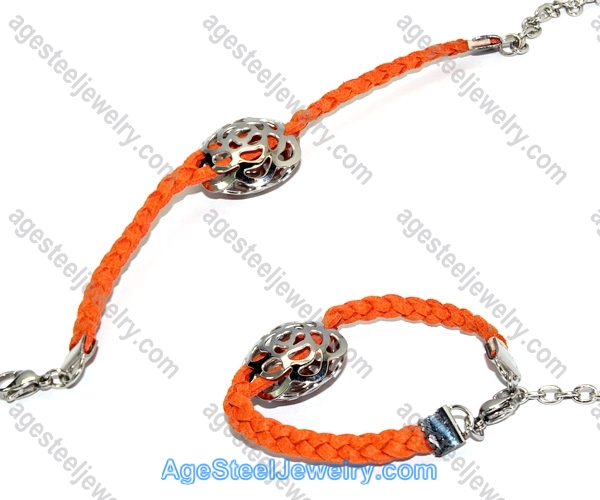 Leather Bracelet Orange B2306