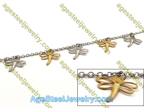 Plating Bracelet B2435 Golden Dragonfly