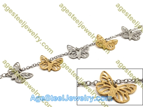 Plating Bracelet B2436 Golden Butterfly