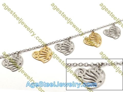 Plating Bracelet B2442 Golden Heart