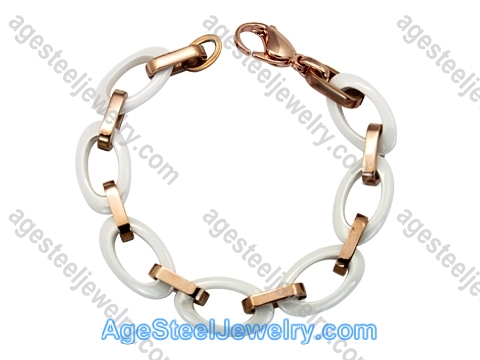 Ceramics Bracelet B8152 White & Rose Gold