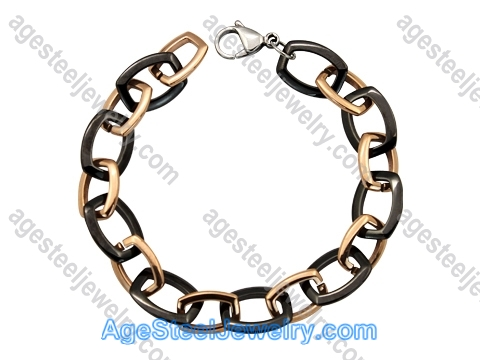 Ceramics Bracelet B8153 Black & Rose Gold