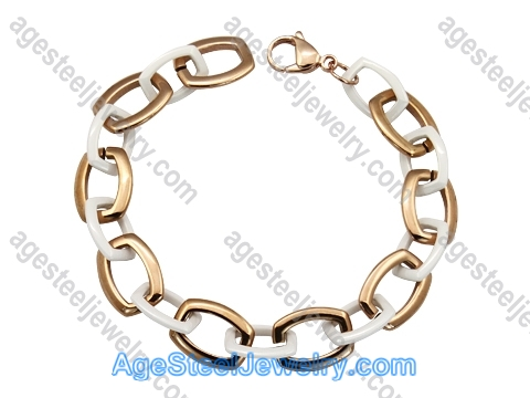 Ceramics Bracelet B8154 White & Rose Gold