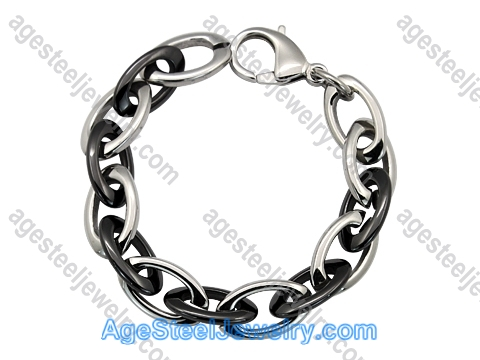 Ceramics Bracelet B8155 Black & Steel