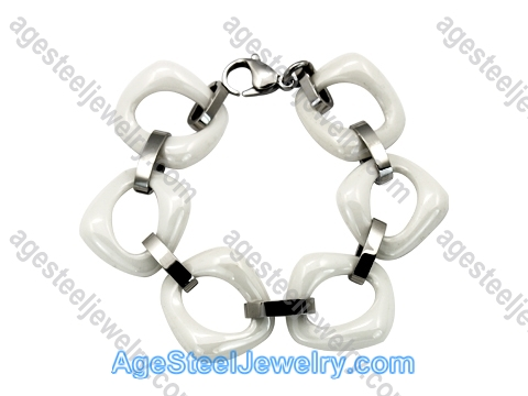Ceramics Bracelet B8180 White & Steel
