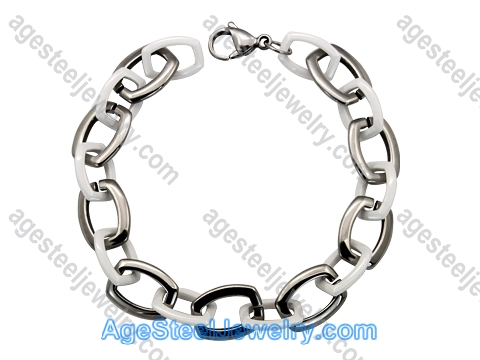 Ceramics Bracelet B8191 White & Steel