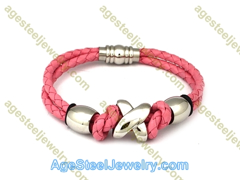 Leather Bangle BA1057 Pink
