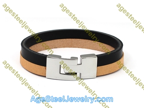 Leather Bangle BA1143 Black & Brown