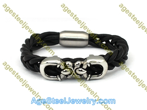 Leather Bangle BA1144 Black Color
