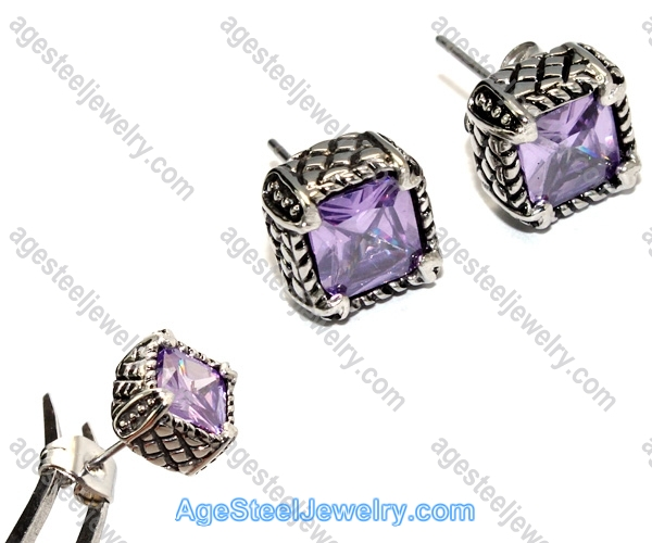 Casting Earring E2321 Purple Charm