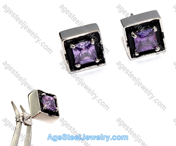 Casting Earring E2322 Purple Stone