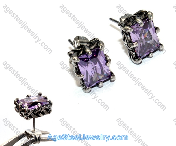 Casting Earring E2323 Purple Diamond