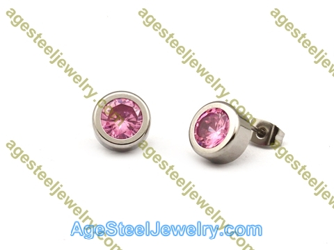 Stone Earring E2628 Pink Color