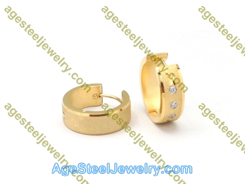 Plating Earring E2764 With Three Stone