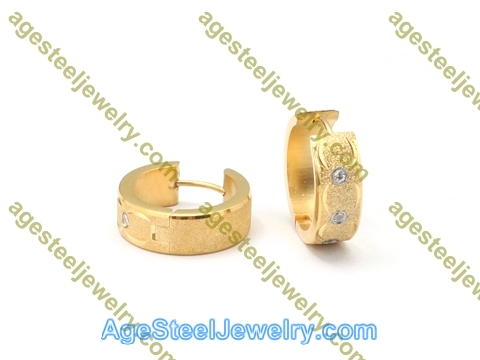Plating Earring E2766 With Three Stone