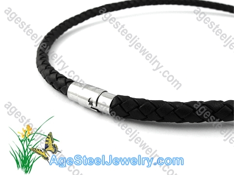 Leather Necklace Black N0472