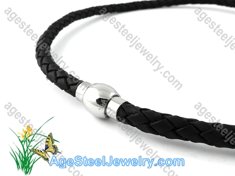 Leather Necklace Black N0476