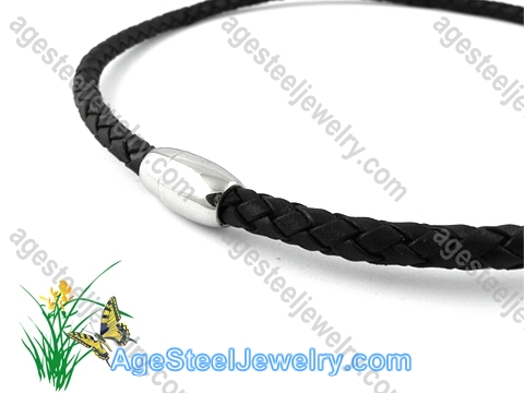 Leather Necklace Black N0479