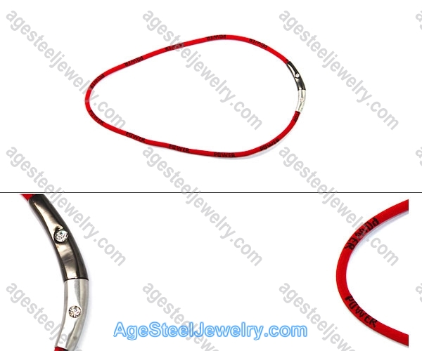 Leather Necklace Red N1096