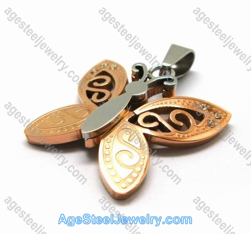 Corrosion Pendant p2446 rose gold butterfly
