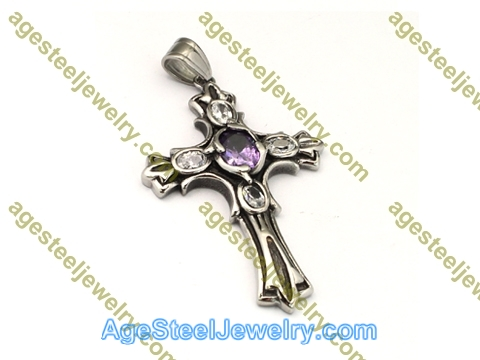 Cross Pendant P5496 Purple & White