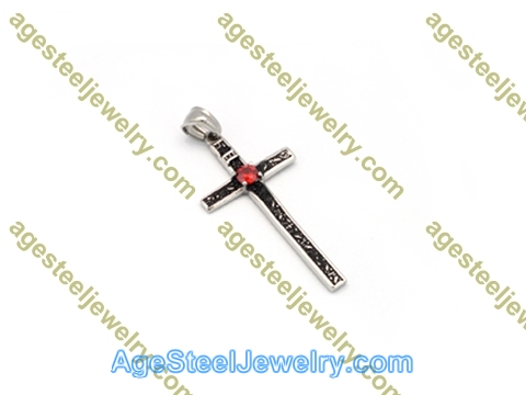 Cross Pendant P5557 Red Stone