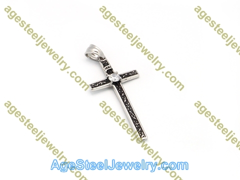 Cross Pendant P5558 White Stone