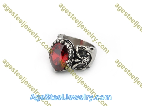 Stone Ring R3025 Red