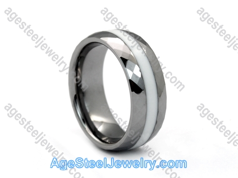 Tungsten Ring R9653 White Ceramic
