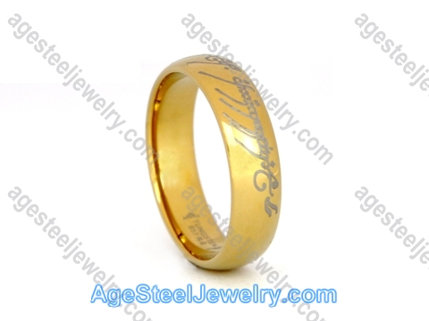 Tungsten Ring R9654 Gold