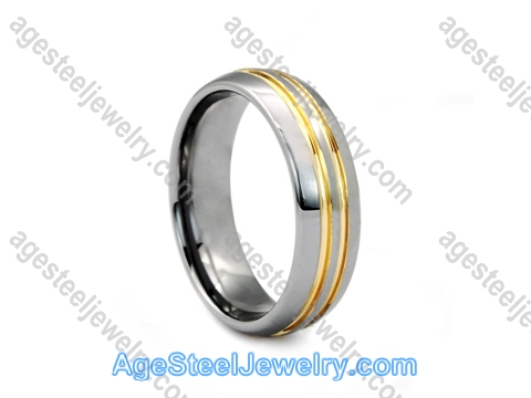 Tungsten Ring R9658 Gold