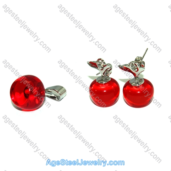 Pendant & Earring S0503 Red Apple